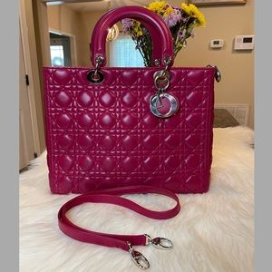 Lady Dior Pink Cannage Tote Bag
